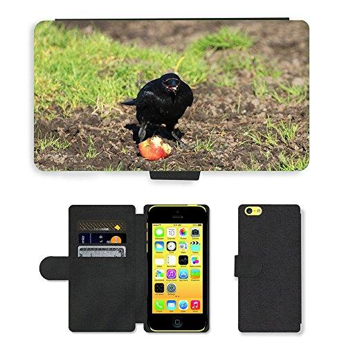 Just Mobile pour Hot Style Téléphone portable étui portefeuille en cuir PU avec fente pour carte//m00140087Corbeau Raven Raven Oiseaux oiseau noir//Apple iPhone 5C