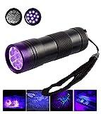 Schwarzlichtlampe mit 12 UV LEDs UV-Schwarzlicht und 395nm UV Taschenlampe Ultraviolett Leuchte, Robust und Wasserfest - Zertifizierung CE, RoHS