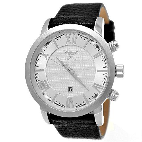 Mächtige NY London Business Herren-Uhr Analog Quarz Leder Armband-Uhr Schwarz Silber mit Datumsanzeige Silbernes Carbon Muster Ziffernblatt Römische Zeiger