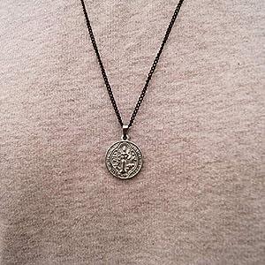 Halskette für Herren Religiös – Made by Nami – Herrenkette Kette Handmade mit Silber Anhänger (Münze Groß)