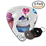 Set Of Watercolor Cupcakes With Lollipop Hearts Can Be Used For Birthday Valentines Card Stylish Celluloid Guitar Picks Plectrums For Guitar Bass .6 Pack 96mm