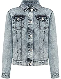 M&Co Teen Girl Light Acid Wash 100% Cotton Long Sleeve Button Front Aztec Embroidered Back Denim Jacket