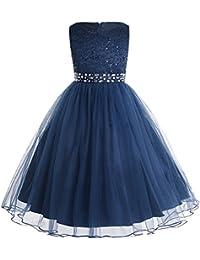 IEFIEL Vestido de Ceremonia Niña Vestido de Princesa Elegante Vestido de Boda Fiesta Bautizo Vestido Flores Encaje Floreado