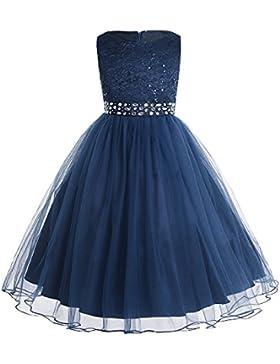 iEFiEL Vestido de Princesa para Niña Traje de Ceremonia Vestido de Boda Fiesta Bautizo Vestido Flores Encaje Floreado