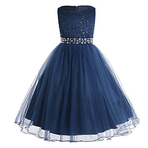 iEFiEL Mädchen Kleid festlich Lange Blumenmädchenkleider für Hochzeits Festkleid Kinder Brautjungfern Kleid 92 104 116 128 140 152 164 Marineblau 140