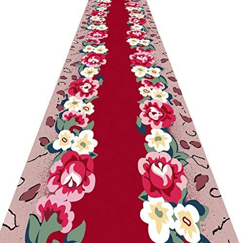 SESO UK- Pastoral Lange Teppich Läufer für Flur und Treppen, Startseite Red Flower Teppich Runner (Size : 120×450cm)