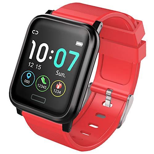 AJM Fitness Tracker - Smartwatch, 50 m wasserdicht, überwacht Herzfrequenz, Blutdruck, Sauerstoff und mehr. Funktioniert mit Smartphones App auf Android, Apple iPhone, rot