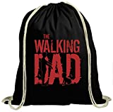 The Walking Dad #6 Premium Turnbeutel   Daddy   Papa   Zombie   Unisex   Gymbag, Farbe:Schwarz (Gymbeutel);Größe:37cm x 46 cm