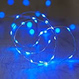 20er LED Draht Micro Lichterkette blau Batteriebetrieb Lights4fun