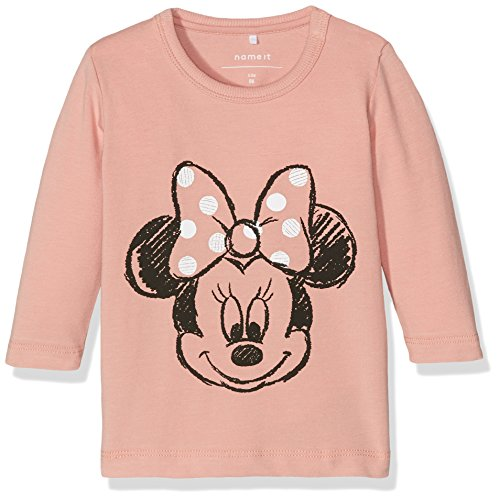 NAME IT Baby - Mädchen Langarmshirt NITMICKEY LINCOLN LS TOP MZNB WDI 13141601, Gr. 74, Rosa (Rose Tan) (Tan Shirt Baumwolle)