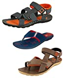 #9: Tempo Men's Combo of 2 Sandals & Blue Orange Slipper