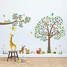 Decowall DM-1502P1512 Groß Blätter Baum und Zweige Waldtiere Tiere Wandtattoo Wandsticker Wandaufkleber Wanddeko für Wohnzimmer Schlafzimmer Kinderzimmer