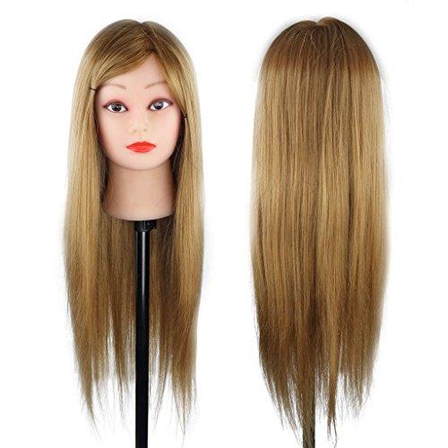Peluquería Cabeza Ejercicio Maniquí Peinado y Moño - 50% Cabello Natural para Estudio Profesional en Cosmetología - 61cm Marrón
