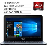 ASUS Vivobook 2019 Premium 14 HD Non-Touch Laptop Notebook Computer, 2-Core AMD A6 2.6GHz, 8GB DDR4 RAM, 500GB HDD (8GB RAM)