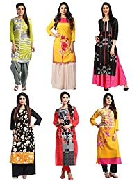 1 Stop Fashion Women's Multi Colour Crep Knee Long Straight Combo Kurti (Set Of 6)