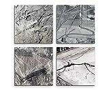 4 Bilder Set Abstrakt Warme Grautöne Lebhaft Wild Harbor Grau