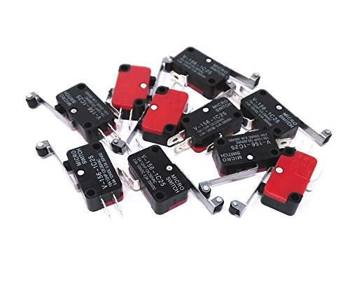 DollaTek 10Pcs V-156-1C25 Micro Endschalter mit Lange Scharnier Roller Momentary SPDT Snap Action für Arduino -