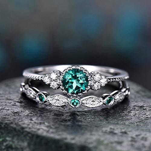 FQYYDD 2 Teile/Satz Trendy Hochzeit Kristall Silber Ring Verlobung Bunte Kubikzircon Ring Frauen Schmuck GR 6 - Diamant-hochzeit Ring-sätze Gold