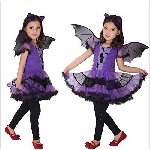 LYQ Princess Kinder Halloween Kostüm Mädchen Lila Fledermaus -