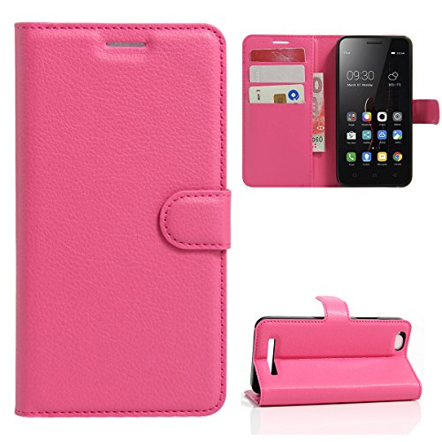Caseforyou Lenovo Vibe C A2020 Wallet Case, Lenovo Vibe C A2020 Leather Case, Premium PU Leather Durable Protective Case Folio Stand Bumper Back Cover for Lenovo Vibe C A2020 - Hot Pink