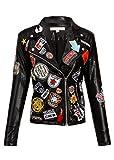 Damen Kunstleder Moto Biker Punk Jacke mit Aufnähern Patches – Gr. S