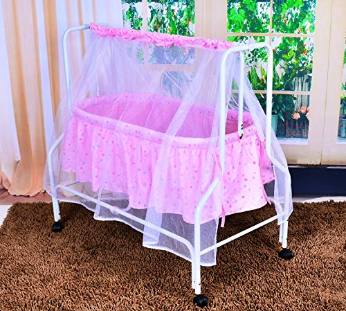 Baby Grow Baby Cradle Swing with Attached Mosquito Net (Baby Pink_730)