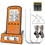 Barbecue Thermomètre, Kaifire Thermomètre pour BBQ sans Fil Thermomètre de Viande Thermomètre de Cuisine Numérique avec Minuterie pour Four Griller Fumeur BBQ Portable