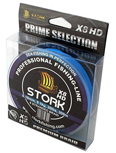 Stork HDx8, 8-Fach geflochtene premium Angelschnur 300m (Blau, 50 lbs / 22.7 kg / 0.33 mm)