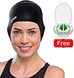 #1 Original Silicone Swimming Cap for Women and Men - Long Hair, Thick or Short - Average/Large Heads - With Ergonomic Ear Pockets to Cover Ears - Anti-Tear - Stronger Than Latex Swim Hats - Great for Adults, Older Kids, Boys and Girls - 100% Satisfaction Money Back Guarantee - FREE Nose Clip