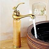 Retro Deluxe Faucetinging Luxus Kupfer antik Jade Wasserhahn europäischen Gold Basin Badezimmer Hahn Luxus Home Decor kostenloser Versand Waschtisch Armatur Badewanne Armaturen tippen, Messing, Goldenen 1.