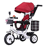 TH - Baby Carriage Stroller Tricycle First Bike 3 Wheel Bike 4 In1 With Removable Push Handle Bar,Rubber Wheel ,Awning,1-6years,C