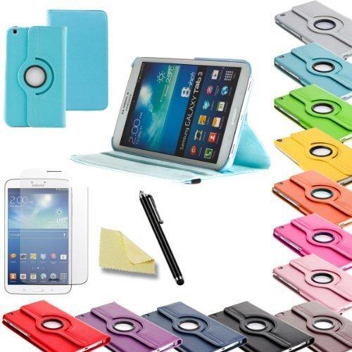 3in1 SET Tab3 8.0 360° Schutzhülle + Folie + Pen Samsung Galaxy Tab 3 8.0 SM-T310 T311 T315 Tasche Etui (Hellblau)