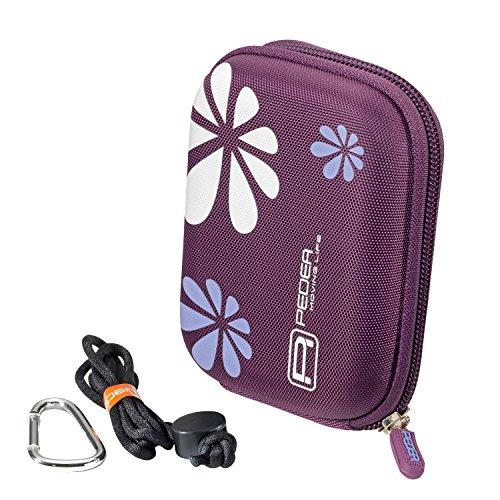 PEDEA Kameratasche für Nikon Coolpix A10, A100, L29, L31 / Canon Ixus 145, 150, 160, 165, 175, 185 / Aquapix W1400 / Rollei Sportsline 60 / Sony DSC W810 mit Displayschutzfolie, lila