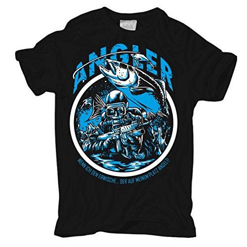 Männer und Herren T-Shirt Angler - Mein Platz (mit Rückendruck) Schwarz