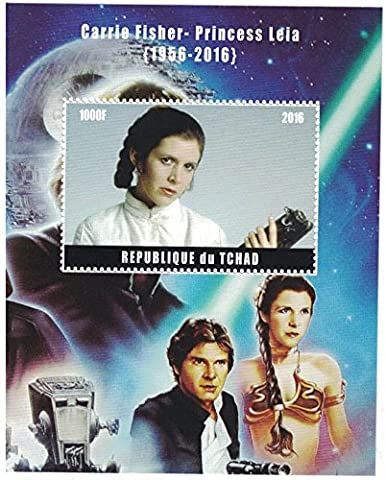 Timbres pour collectionneurs–Perforfated Tampon Drap avec Star Wars/Carrie Fisher AS Princesse Leia à partir de 1956–2016/Tchad