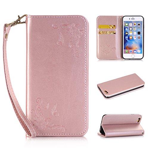 Preisvergleich Produktbild Lonchee Apple iPhone 6s Plus(5.5 Zoll ) Wallet Tasche Brieftasche Schutzhülle , geprägten Design Hochwertige PU Leder Folio Tasche Case Hülle im Bookstyle mit Standfunktion Kredit Kartenfächer (Rose Gold)