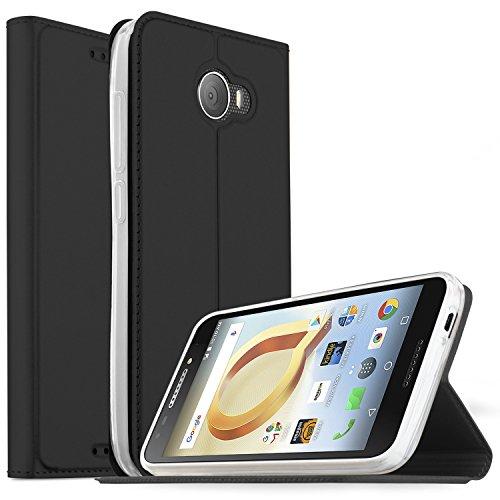 Alcatel 3C Hülle, iBetter Premium Tasche Cover Flip Case [Magnetic Closure] [Standfunktion] Schutzhülle Handyhüllen für Alcatel 3C Smartphone (Schwarz)