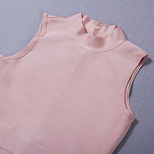 HLBandage Women's Sexy Sleeveless High Neck Midi Bodycon Bandage Dress Rosa
