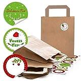 48 braune Weihnachts-Papiertüte Geschenktasche Henkel mit Boden 18 x 8 x 22 cm + 48 runde weihnachtliche Aufkleber 4 cm FROHES FEST rot grün Geschenk-Verpackung Kraftpapier bio