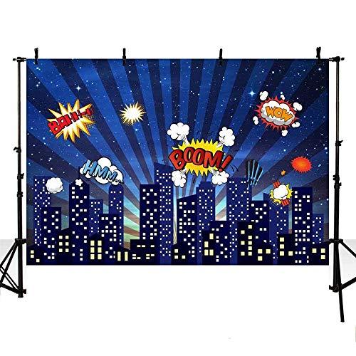 Hero Thema Stadt Gebäude Kinder Geburtstag Happy Birthday Party Hintergrund Fotografie Foto Banner Neugeborenes Baby Portrait Foto Home Tapete Dekoration Fotostudio ()