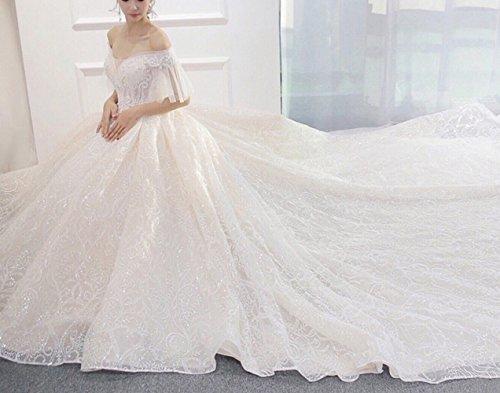 SLR Meili Wort Schulter Brautkleid, Braut Hochzeit Prinzessin Gericht schlank Langen Schwanz...