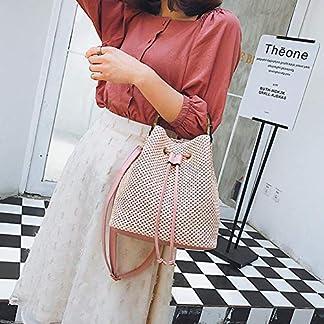 Chifans Bolso de Paja para Mujer, Material de ratán Natural, patrón Tejido, Bolsa de Playa, Bolsa Diagonal, Caqui/Rosa