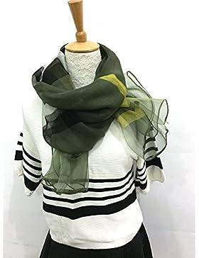 Pañuelo de seda de morera estrechamente _ lana seda pañuelo de seda Inglaterra la cuadrícula grande de seda de...