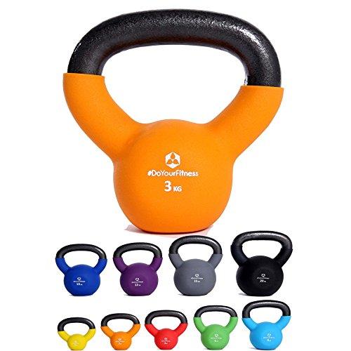 KettleBell »Kylon« Kugelhantel 2 - 20 kg / Handgewicht 100% Eisen mit Neoprenoberfläche / High Performance Studio-Qualität / 3kg / orange
