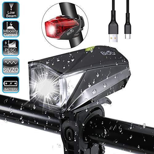 BIGO LED Fahrradlicht Set StVZO Zugelassen USB Wiederaufladbare Wasserdicht IPX4 Fahrradbeleuchtung Set, Fahrradlampe Set inkl, LED Frontlichter und Rücklicht (Schwarz) -