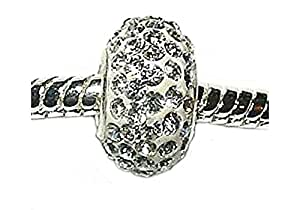 Swarovski Crystal Charm Bead for slide on Bracelets - fits Pandora, Troll etc - White Crystal