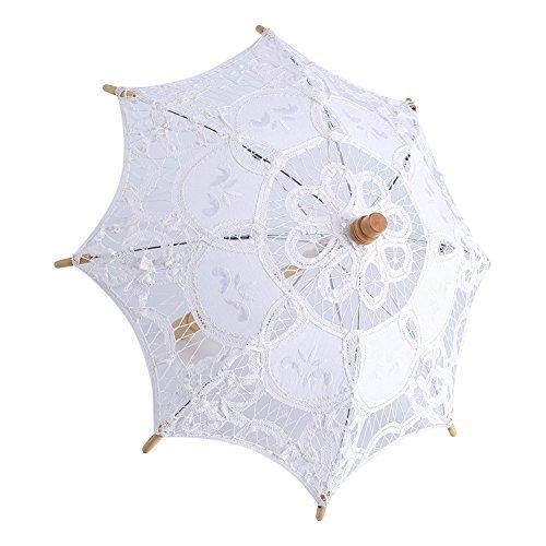 Spitze Regenschirm Vintage Hochzeit Spitze Stickerei Reine Baumwolle Dame Braut Hochzeit Sonnenschirm Dekoration Foto ()