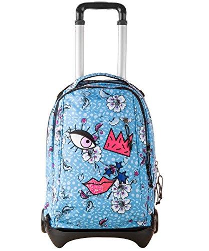 Trolley invicta - plug face - angel blue azzurro - zaino sganciabile e lavabile - scuola e viaggio 35 lt