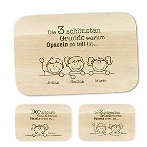 Crazy Kitchen Casa Vivente Frühstücksbrettchen mit Gravur - Schönste Gründe für Opa - Personalisiert mit Namen - Brettchen aus Ahornholz - Geschenkidee für Männer zum Geburtstag - Vatertagsgeschenk