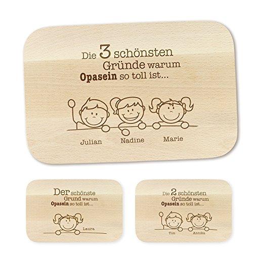 Crazy Kitchen Frühstücksbrettchen – mit Gravur – Gründe für Opa – Personalisiert mit Namen - Brettchen aus Ahornholz – Brotbrett aus Hellem Holz – Geschenkideen für Opa - Geburtstagsgeschenke